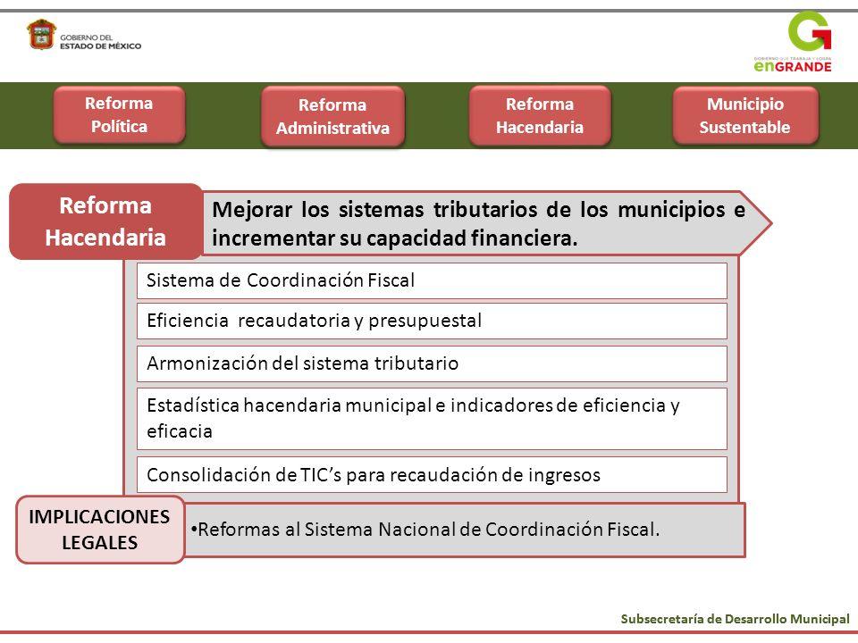 Eficiencia recaudatoria y presupuestal Armonización del sistema tributario Estadística hacendaria municipal e indicadores de eficiencia y eficacia Con