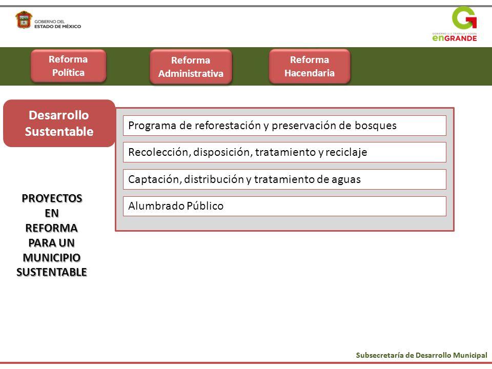 Subsecretaría de Desarrollo Municipal Municipio Sustentable PROYECTOSENREFORMA PARA UN MUNICIPIO SUSTENTABLE Desarrollo Sustentable Programa de refore