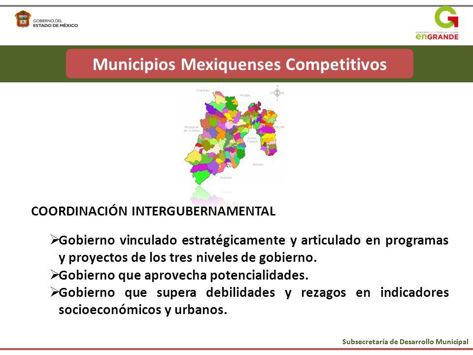 Subsecretaría de Desarrollo Municipal Municipios Mexiquenses Competitivos COORDINACIÓN INTERGUBERNAMENTAL Gobierno vinculado estratégicamente y articu