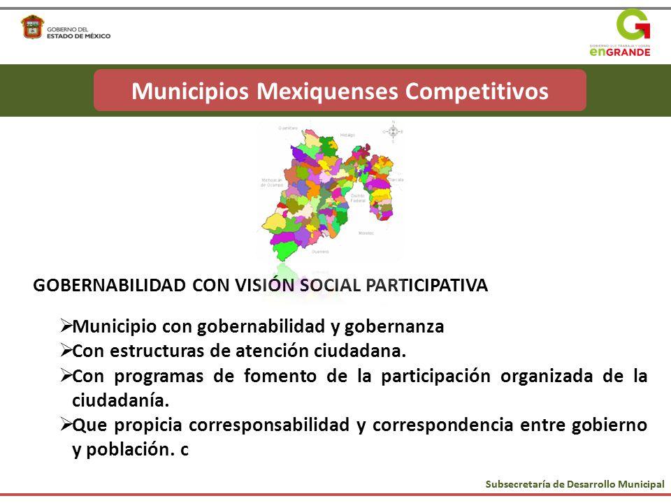 GOBERNABILIDAD CON VISIÓN SOCIAL PARTICIPATIVA Municipio con gobernabilidad y gobernanza Con estructuras de atención ciudadana. Con programas de fomen
