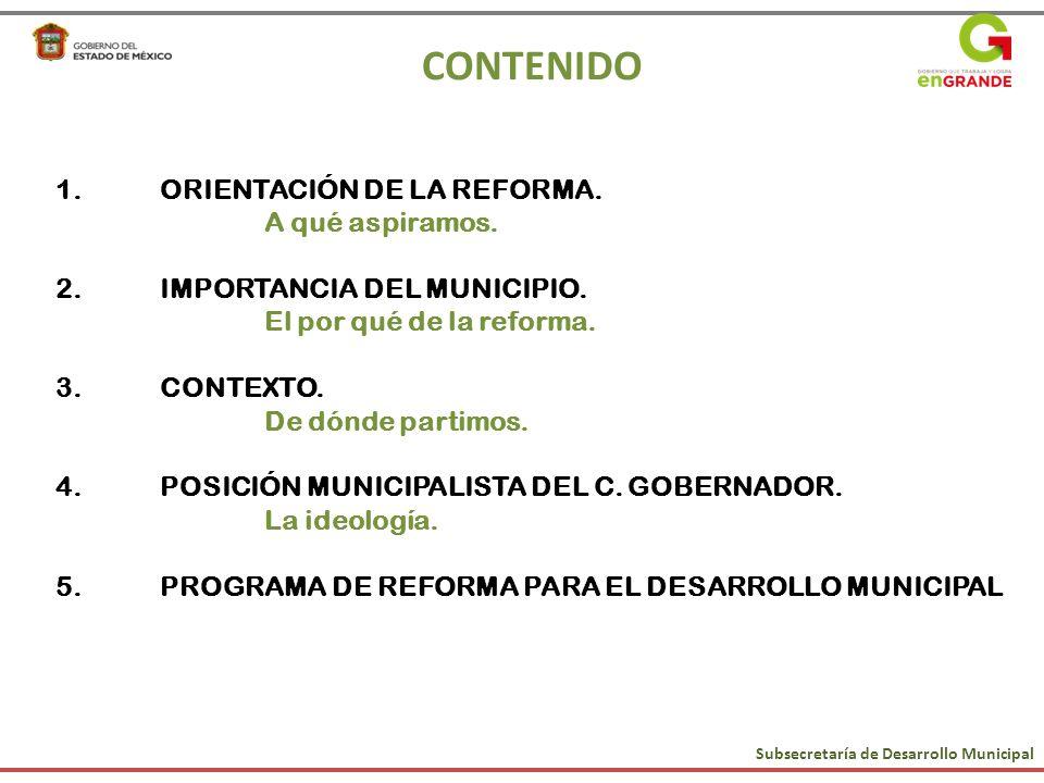 CONTENIDO 1.ORIENTACIÓN DE LA REFORMA. A qué aspiramos. 2.IMPORTANCIA DEL MUNICIPIO. El por qué de la reforma. 3.CONTEXTO. De dónde partimos. 4.POSICI