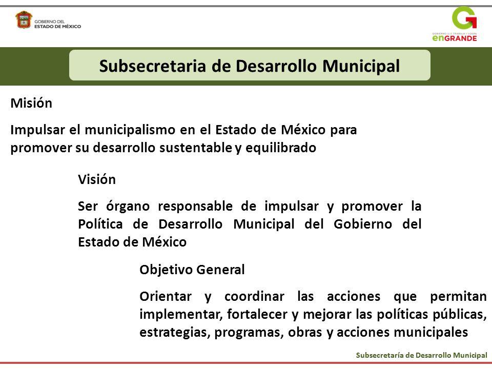 Subsecretaría de Desarrollo Municipal Municipios Mexiquenses CompetitivosSubsecretaria de Desarrollo Municipal Misión Impulsar el municipalismo en el