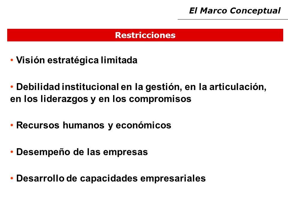 Restricciones Visión estratégica limitada Debilidad institucional en la gestión, en la articulación, en los liderazgos y en los compromisos Recursos humanos y económicos Desempeño de las empresas Desarrollo de capacidades empresariales El Marco Conceptual