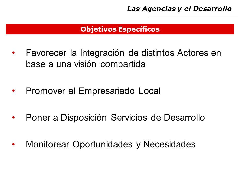 Objetivos Específicos Favorecer la Integración de distintos Actores en base a una visión compartida Promover al Empresariado Local Poner a Disposición Servicios de Desarrollo Monitorear Oportunidades y Necesidades Las Agencias y el Desarrollo