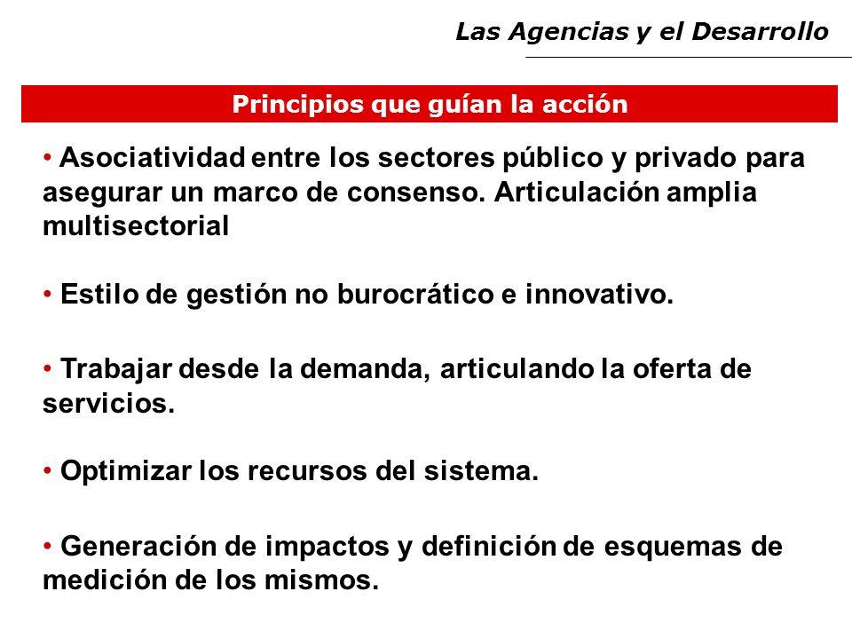 Principios que guían la acción Asociatividad entre los sectores público y privado para asegurar un marco de consenso.