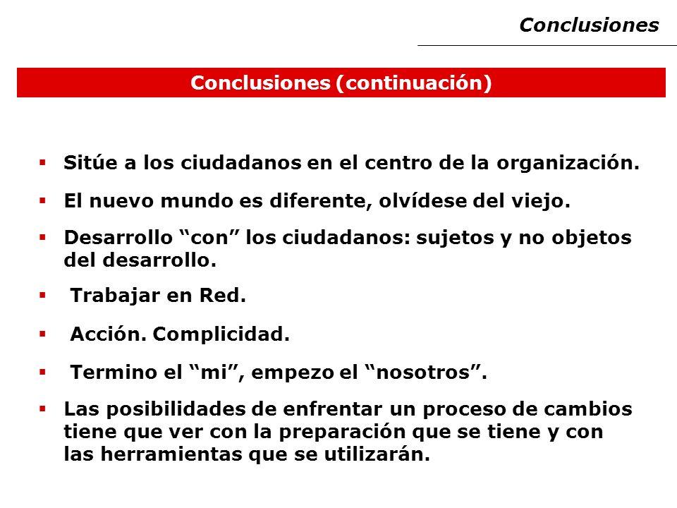 Conclusiones (continuación) Sitúe a los ciudadanos en el centro de la organización.