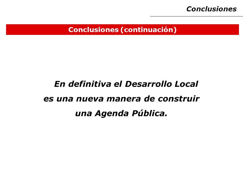 Conclusiones (continuación) En definitiva el Desarrollo Local es una nueva manera de construir una Agenda Pública.