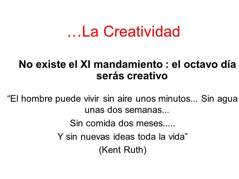…La Creatividad No existe el XI mandamiento : el octavo día serás creativo El hombre puede vivir sin aire unos minutos...