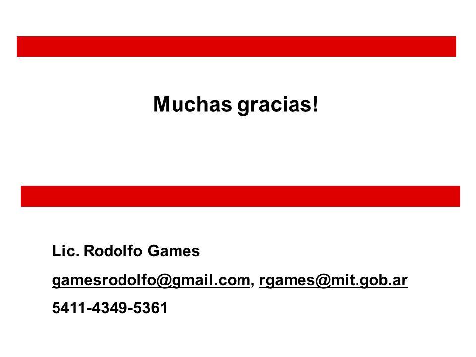 Lic. Rodolfo Games gamesrodolfo@gmail.comgamesrodolfo@gmail.com, rgames@mit.gob.ar 5411-4349-5361 Muchas gracias!