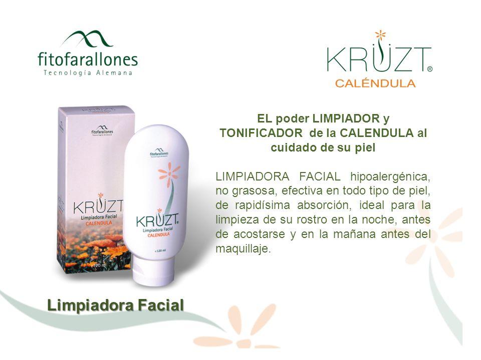 Limpiadora Facial VENTAJAS Posee el equilibrio natural de la Caléndula, lo que permite usarla en cualquier tipo de piel sin causar efectos colaterales ni irritación alguna.