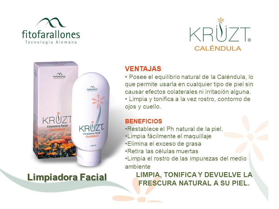 Limpiadora Facial VENTAJAS Posee el equilibrio natural de la Caléndula, lo que permite usarla en cualquier tipo de piel sin causar efectos colaterales