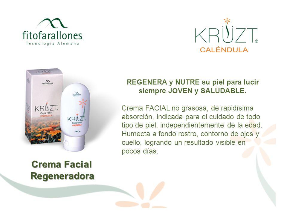 Crema Facial Regeneradora VENTAJAS Puede usarse en cualquier tipo de piel, sin generar efectos colaterales ni ningún tipo de irritación Es apta para uso de día o de noche.