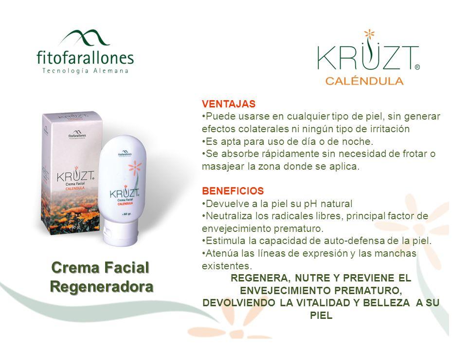 Crema Facial Regeneradora VENTAJAS Puede usarse en cualquier tipo de piel, sin generar efectos colaterales ni ningún tipo de irritación Es apta para u