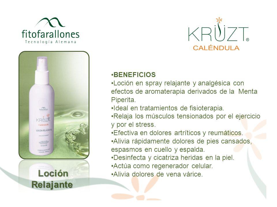 BENEFICIOS Loción en spray relajante y analgésica con efectos de aromaterapia derivados de la Menta Piperita. Ideal en tratamientos de fisioterapia. R