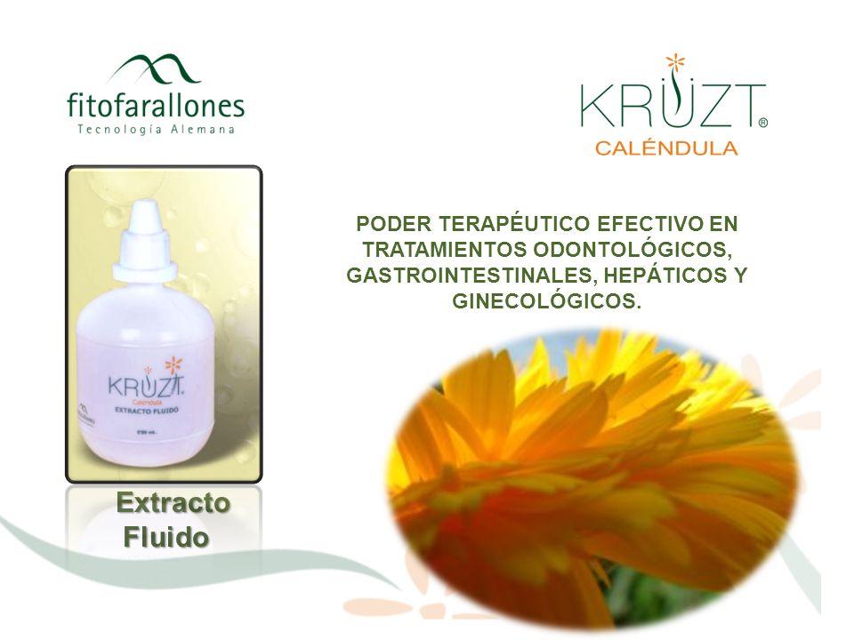 ExtractoFluido Extracto puro de flores seleccionadas de Caléndula Officinalis procesado con biotecnología alemana para garantizar todos los principios activos naturales de la planta.
