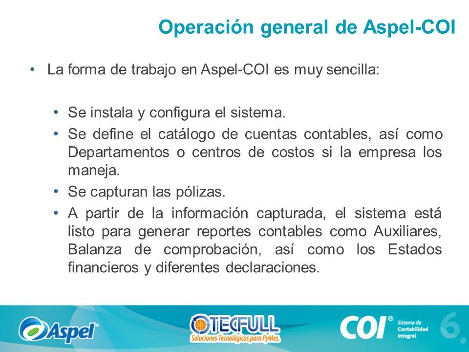 Operación general de Aspel-COI La forma de trabajo en Aspel-COI es muy sencilla: Se instala y configura el sistema. Se define el catálogo de cuentas c