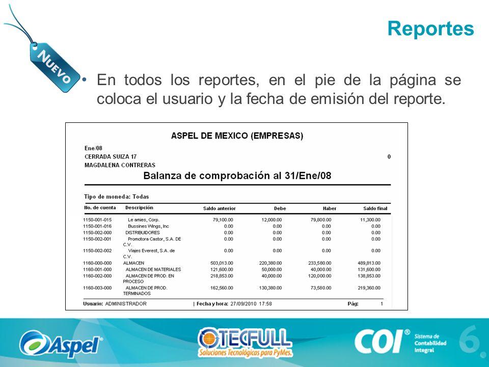 En todos los reportes, en el pie de la página se coloca el usuario y la fecha de emisión del reporte. Reportes