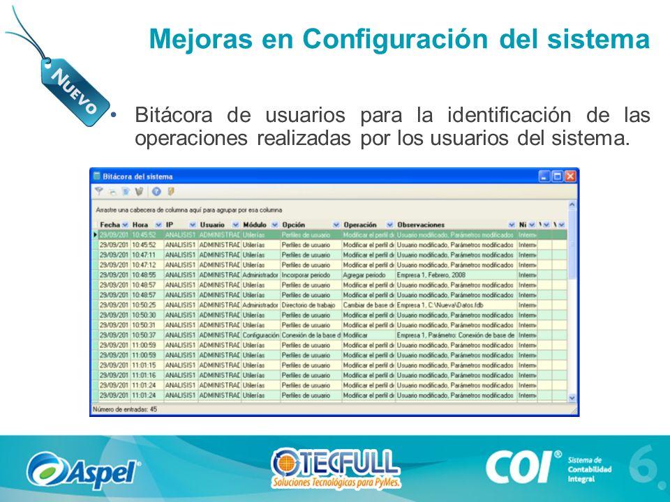 Mejoras en Configuración del sistema Bitácora de usuarios para la identificación de las operaciones realizadas por los usuarios del sistema.