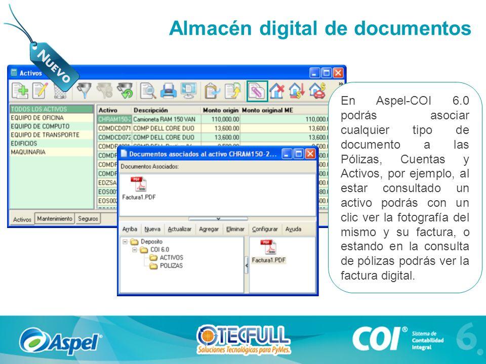 En Aspel-COI 6.0 podrás asociar cualquier tipo de documento a las Pólizas, Cuentas y Activos, por ejemplo, al estar consultado un activo podrás con un clic ver la fotografía del mismo y su factura, o estando en la consulta de pólizas podrás ver la factura digital.