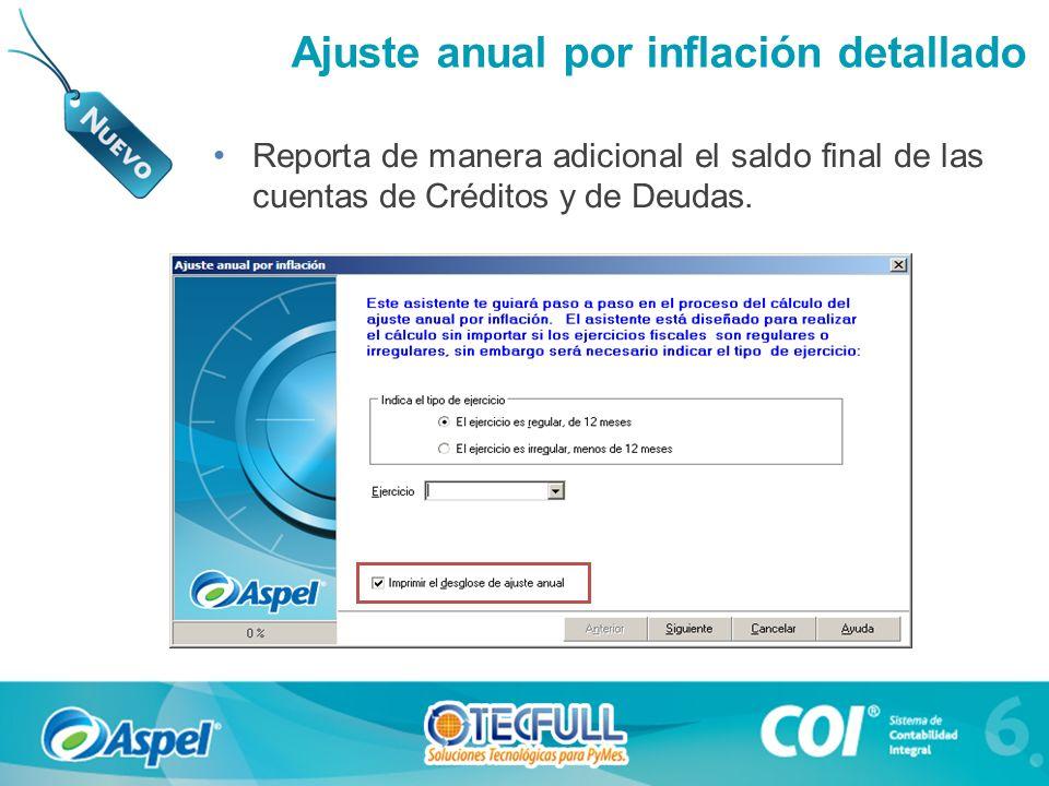 Reporta de manera adicional el saldo final de las cuentas de Créditos y de Deudas. Fiscal Ajuste anual por inflación detallado