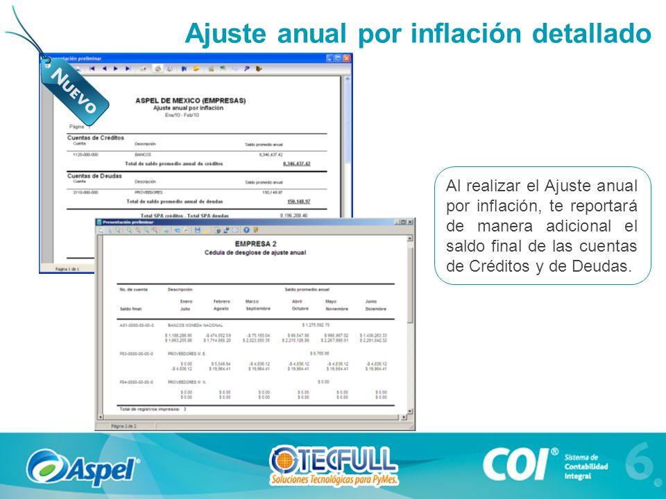 Al realizar el Ajuste anual por inflación, te reportará de manera adicional el saldo final de las cuentas de Créditos y de Deudas. Ajuste anual por in