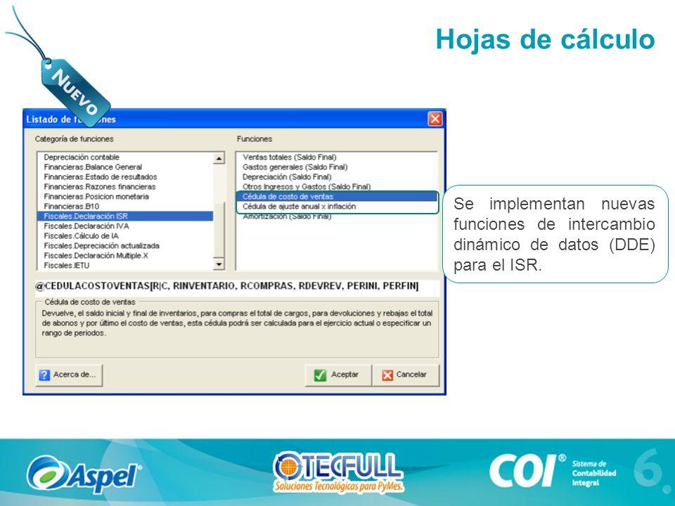 Se implementan nuevas funciones de intercambio dinámico de datos (DDE) para el ISR. Hojas de cálculo