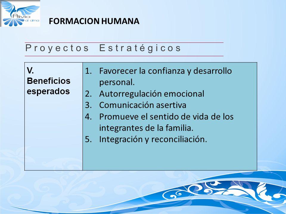 FORMACION HUMANA P r o y e c t o s E s t r a t é g i c o s V. Beneficios esperados 1.Favorecer la confianza y desarrollo personal. 2.Autorregulación e