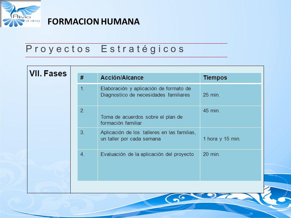 FORMACION HUMANA P r o y e c t o s E s t r a t é g i c o s VII. Fases #Acción/AlcanceTiempos 1.Elaboración y aplicación de formato de Diagnostico de n