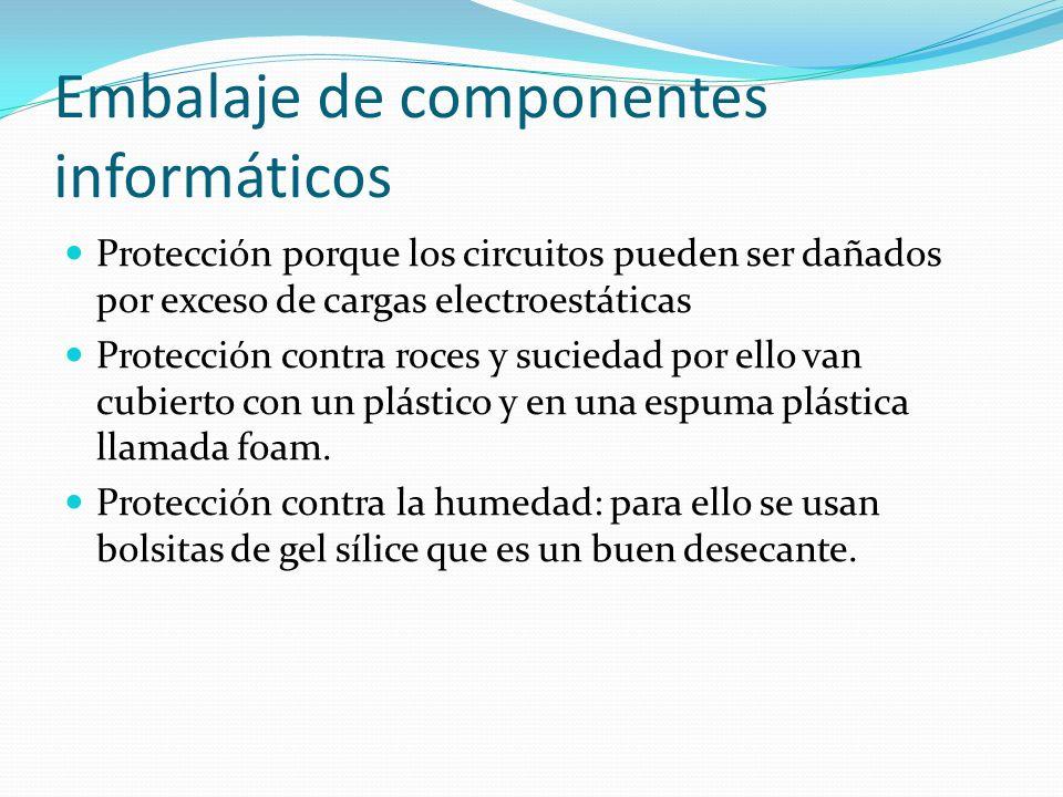 Embalaje de componentes informáticos Protección porque los circuitos pueden ser dañados por exceso de cargas electroestáticas Protección contra roces