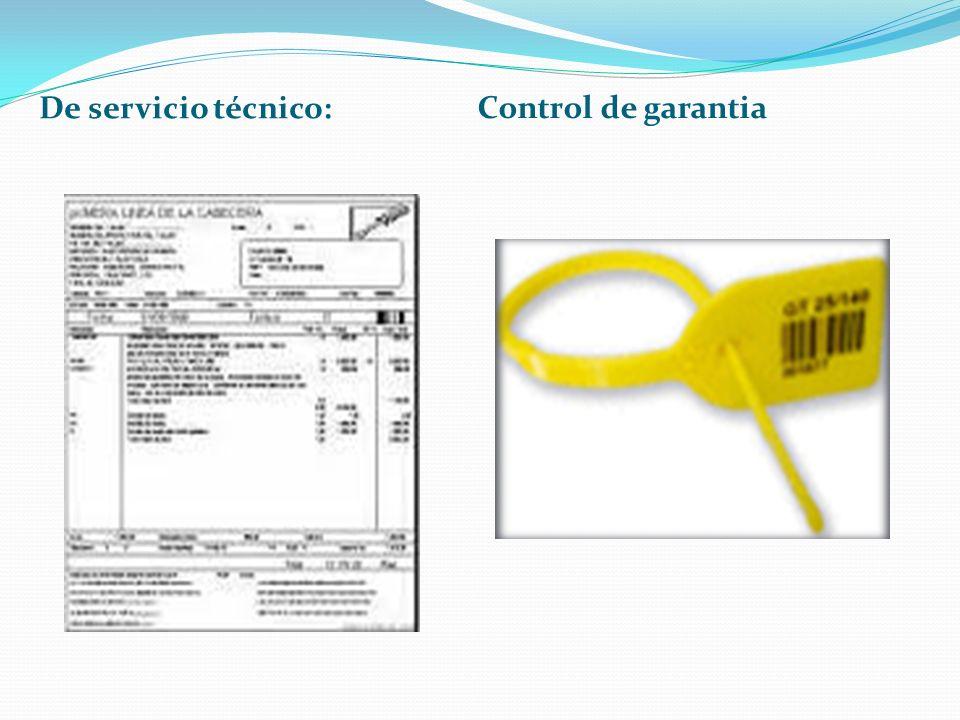 De servicio técnico: Control de garantia