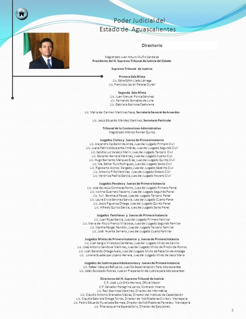 TOTAL 2,1021672,269 JUZGADOSSENTENCIAS MIXTOS DE PRIMERA INSTANCIA ACUMULADO AL MES ANTERIOR MES TOTAL ACUMULADO SEGUNDO PARTIDO JUDICIAL – CALVILLO CIVIL 1617168 FAMILIAR 19112203 PENAL 23225 SUBTOTAL 37521396 TERCER PARTIDO JUDICIAL – PABELLÓN DE ARTEAGA CIVIL 19026216 FAMILIAR 30618324 PENAL 69574 SUBTOTAL 56549614 CUARTO PARTIDO JUDICIAL – RINCÓN DE ROMOS CIVIL 25227279 FAMILIAR 29323316 PENAL 22729 SUBTOTAL 56757624 QUINTO PARTIDO JUDICIAL – JESÚS MARÍA CIVIL 30928337 FAMILIAR 2259234 PENAL 61364 SUBTOTAL 59540635 24