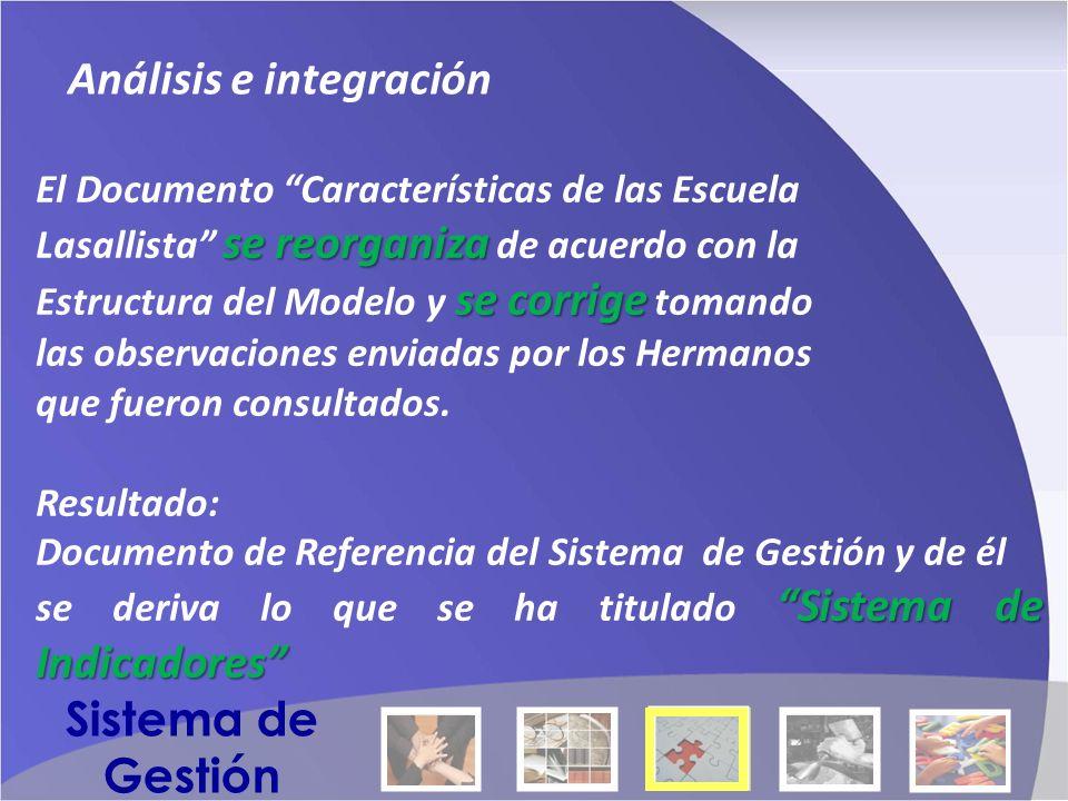 Análisis e integración El Documento Características de las Escuela sereorganiza Lasallista se reorganiza de acuerdo con la se corrige Estructura del Modelo y se corrige tomando las observaciones enviadas por los Hermanos que fueron consultados.