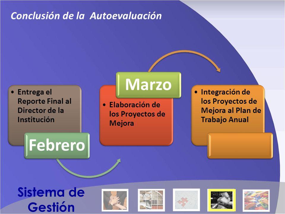 Entrega el Reporte Final al Director de la Institución Febrero Elaboración de los Proyectos de Mejora Marzo Integración de los Proyectos de Mejora al Plan de Trabajo Anual Conclusión de la Autoevaluación Sistema de Gestión