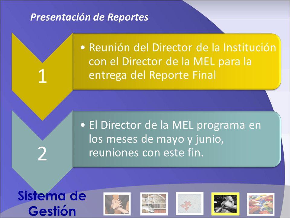 1 Reunión del Director de la Institución con el Director de la MEL para la entrega del Reporte Final 2 El Director de la MEL programa en los meses de mayo y junio, reuniones con este fin.