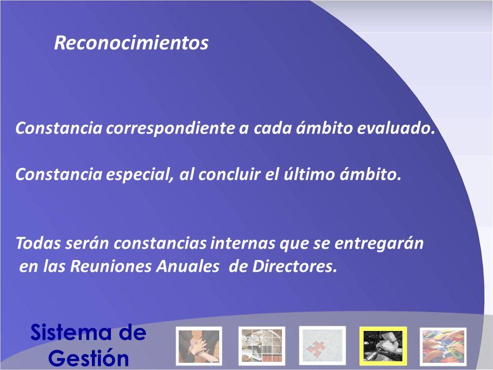 Reconocimientos Constancia correspondiente a cada ámbito evaluado.