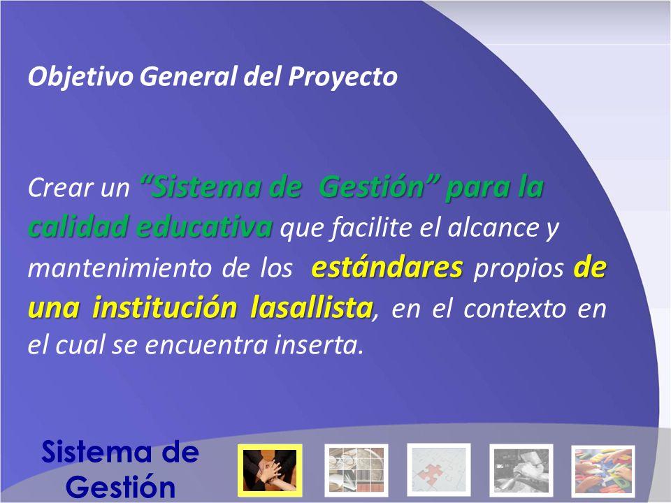 Objetivo General del Proyecto Sistema de Gestión para la Crear un Sistema de Gestión para la calidad educativa calidad educativa que facilite el alcance y estándares de una institución lasallista mantenimiento de los estándares propios de una institución lasallista, en el contexto en el cual se encuentra inserta.