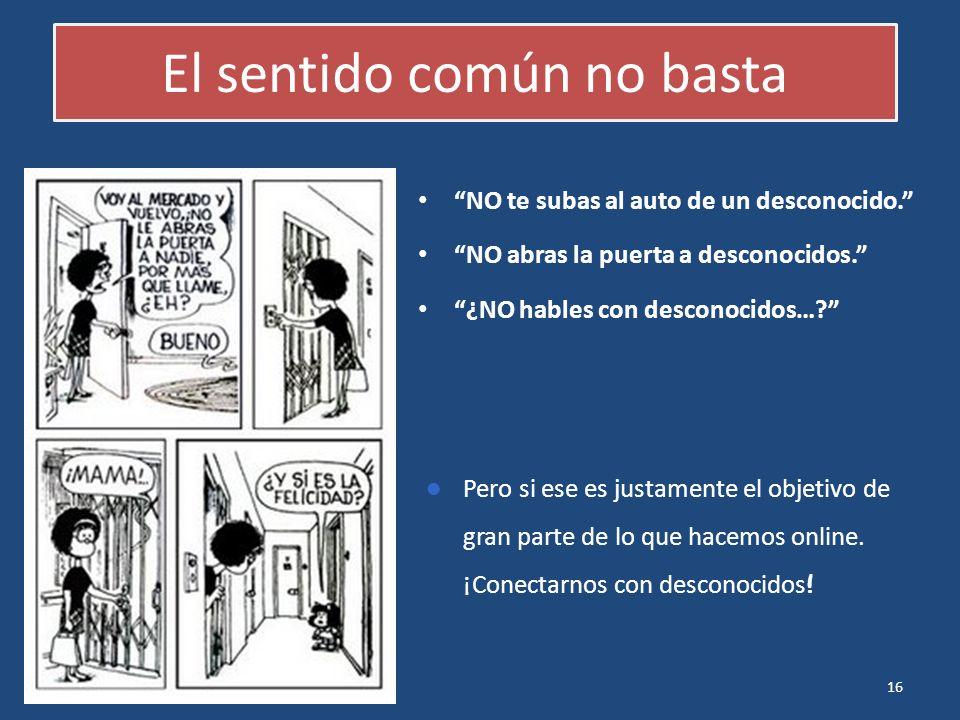 16 El sentido común no basta NO te subas al auto de un desconocido. NO abras la puerta a desconocidos. ¿NO hables con desconocidos…? Pero si ese es ju