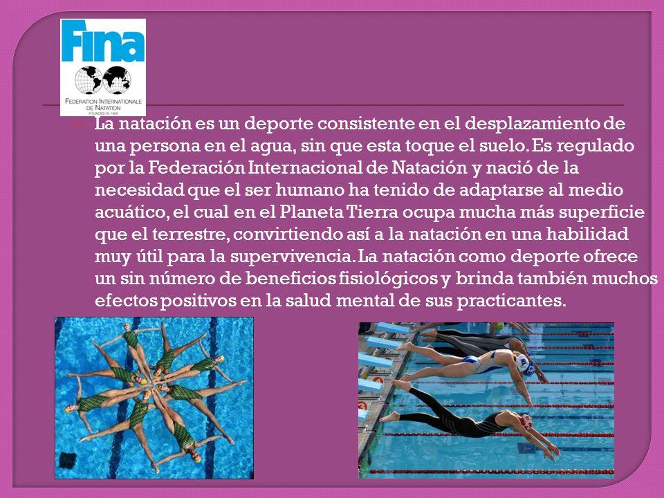La natación es un deporte consistente en el desplazamiento de una persona en el agua, sin que esta toque el suelo. Es regulado por la Federación Inter