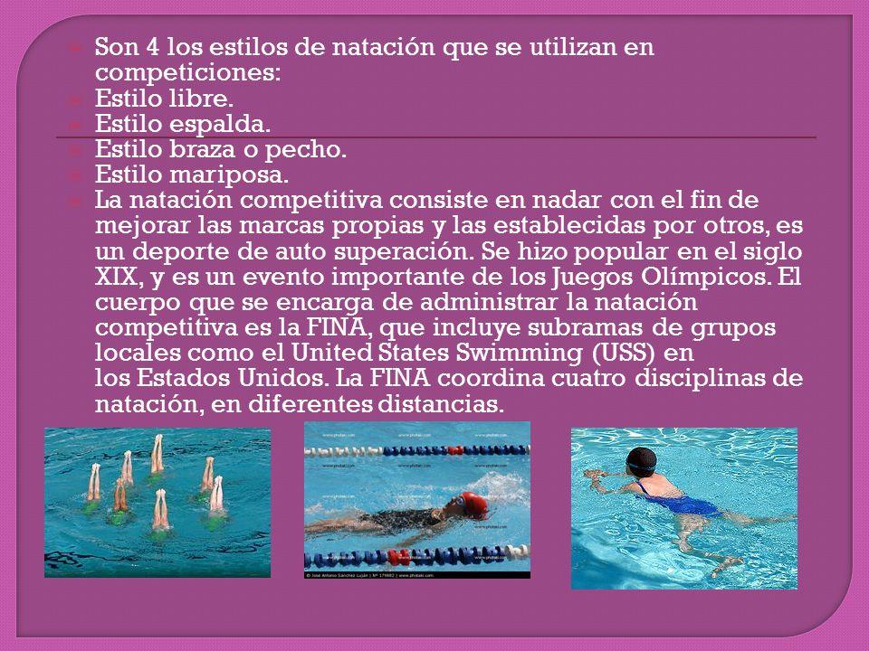 Son 4 los estilos de natación que se utilizan en competiciones: Estilo libre. Estilo espalda. Estilo braza o pecho. Estilo mariposa. La natación compe