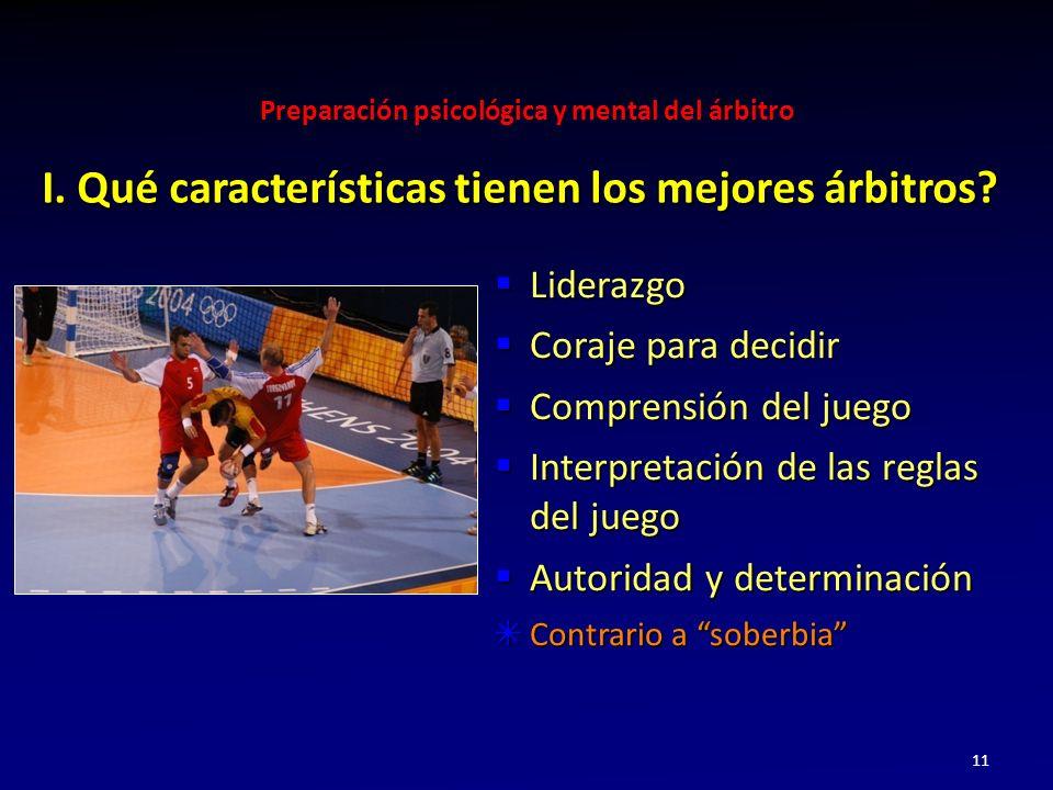 Preparación psicológica y mental del árbitro 11 Liderazgo Liderazgo Coraje para decidir Coraje para decidir Comprensión del juego Comprensión del jueg