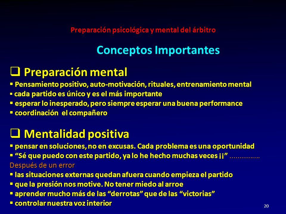 Preparación psicológica y mental del árbitro 20 Preparación mental Preparación mental Pensamiento positivo, auto-motivación, rituales, entrenamiento m