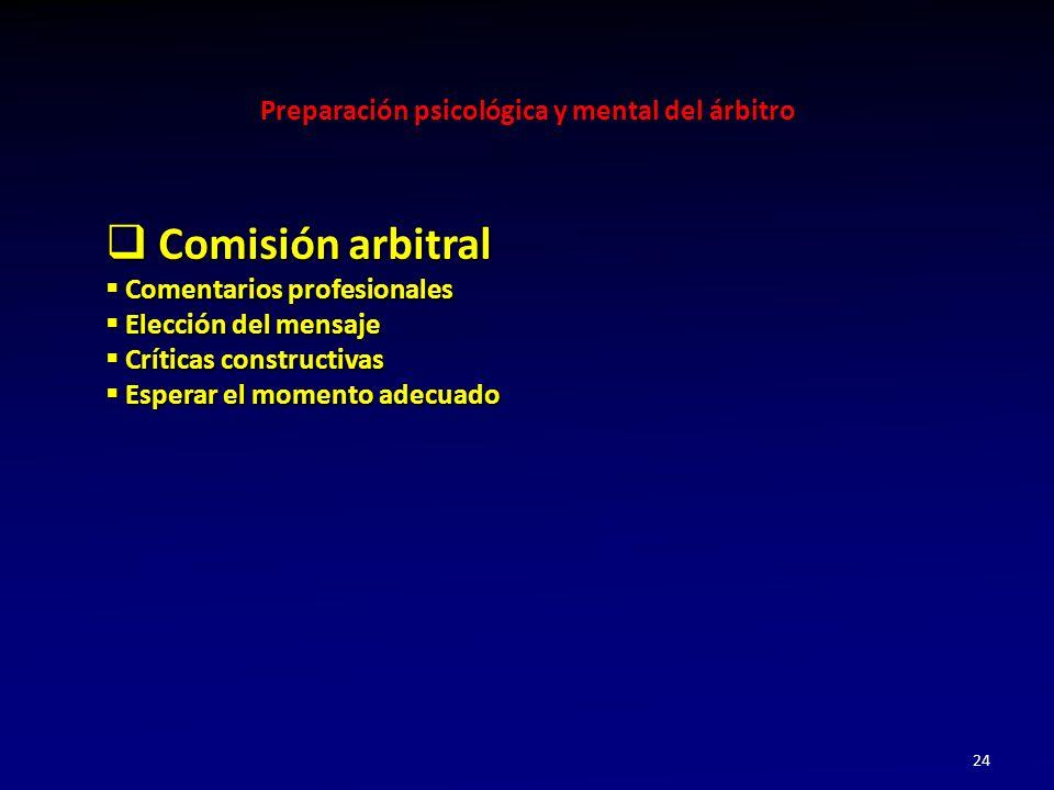 Preparación psicológica y mental del árbitro 24 Comisión arbitral Comisión arbitral Comentarios profesionales Comentarios profesionales Elección del m