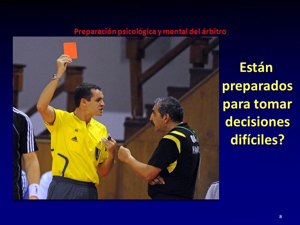 Preparación psicológica y mental del árbitro 8 Están preparados para tomar decisiones difíciles? Están preparados para tomar decisiones difíciles?