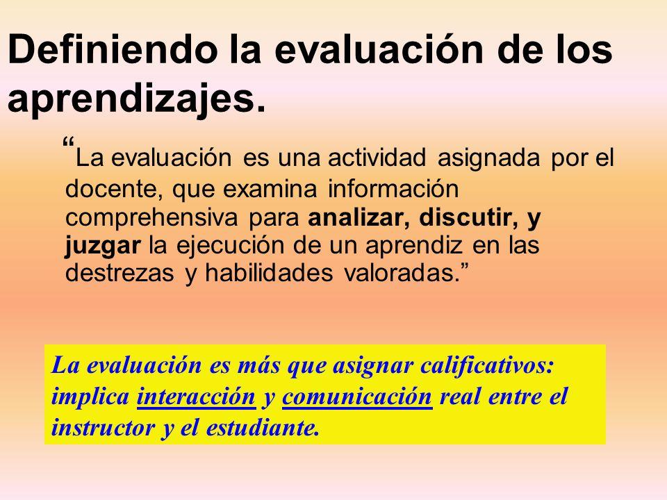 Definiendo la evaluación de los aprendizajes. La evaluación es una actividad asignada por el docente, que examina información comprehensiva para anali
