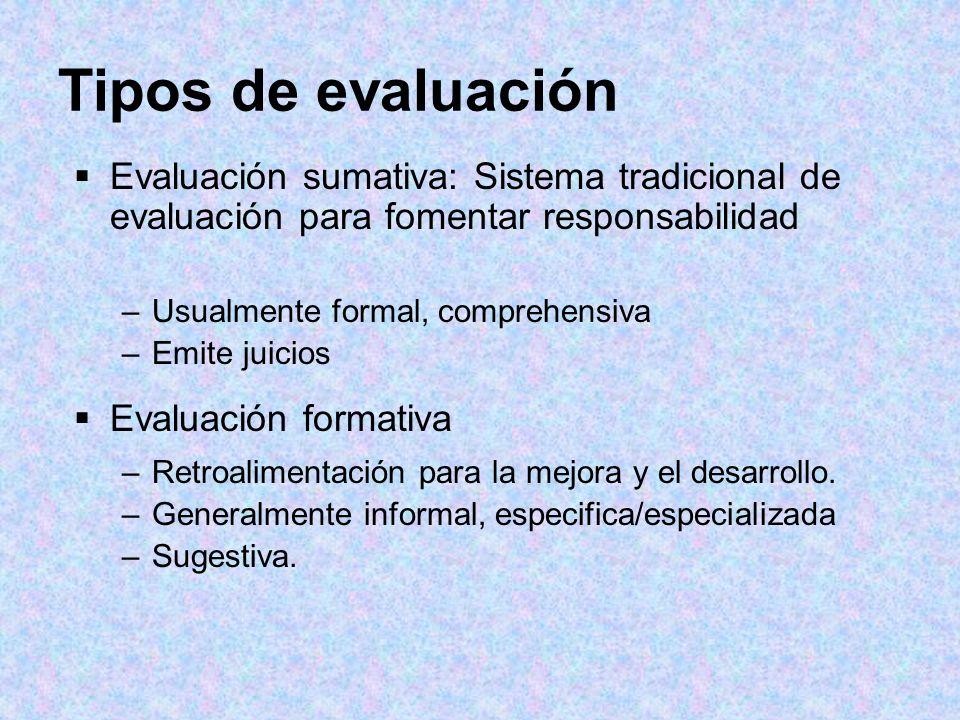 Tipos de evaluación Evaluación sumativa: Sistema tradicional de evaluación para fomentar responsabilidad –Usualmente formal, comprehensiva –Emite juic