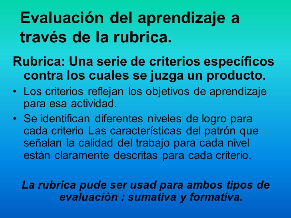 Evaluación del aprendizaje a través de la rubrica. Rubrica: Una serie de criterios específicos contra los cuales se juzga un producto. Los criterios r