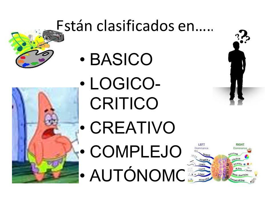 Están clasificados en…… BASICO LOGICO- CRITICO CREATIVO COMPLEJO AUTÓNOMO