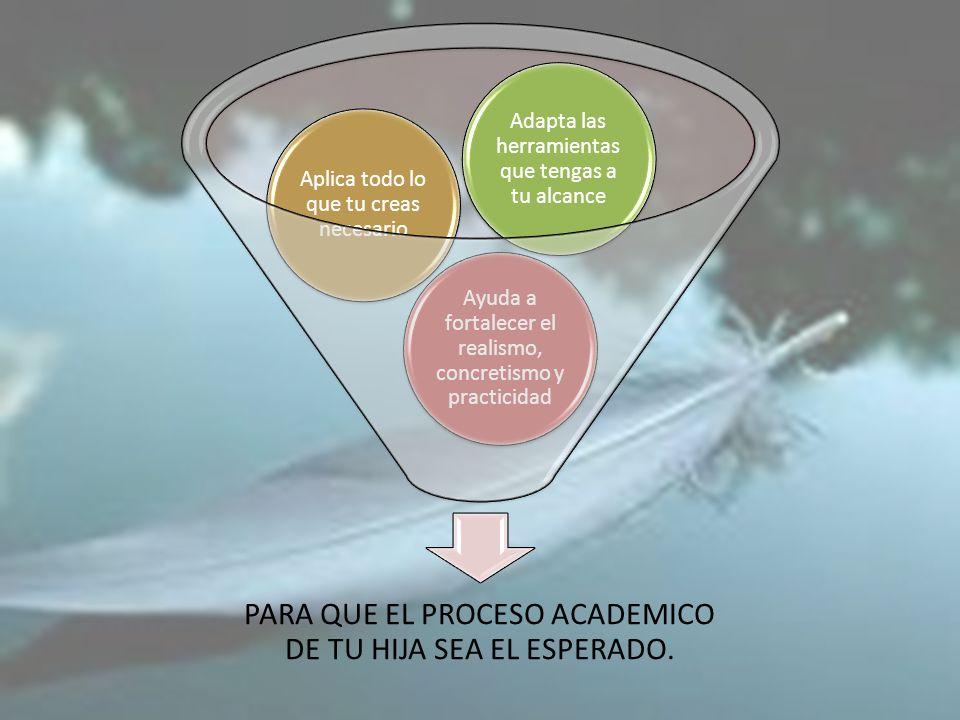 PARA QUE EL PROCESO ACADEMICO DE TU HIJA SEA EL ESPERADO. Ayuda a fortalecer el realismo, concretismo y practicidad Aplica todo lo que tu creas necesa