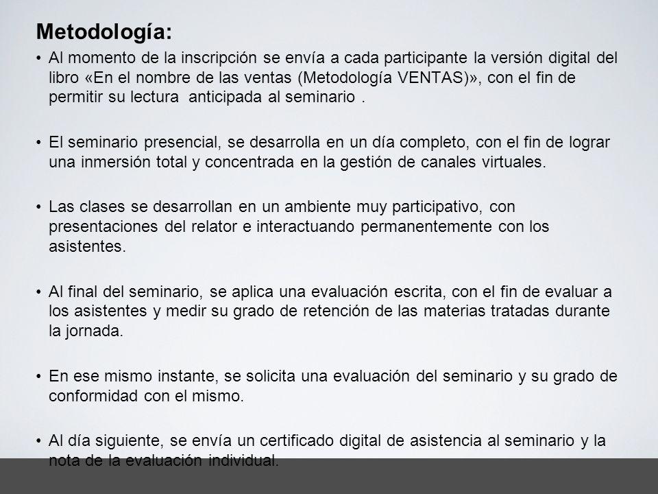 Metodología: Al momento de la inscripción se envía a cada participante la versión digital del libro «En el nombre de las ventas (Metodología VENTAS)»,