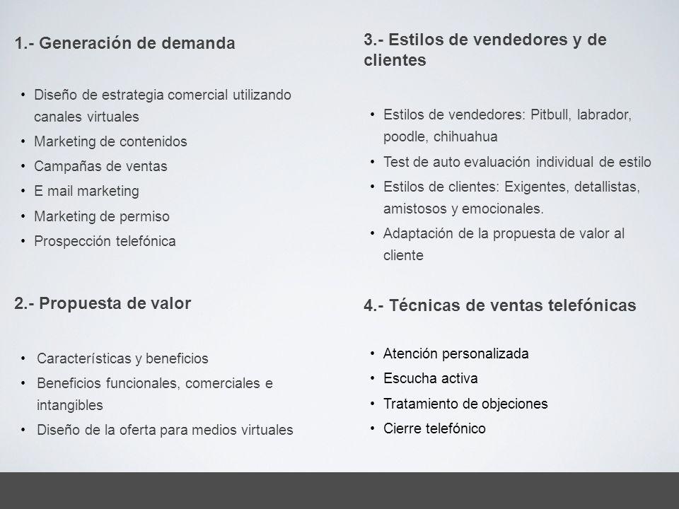 1.- Generación de demanda Diseño de estrategia comercial utilizando canales virtuales Marketing de contenidos Campañas de ventas E mail marketing Mark